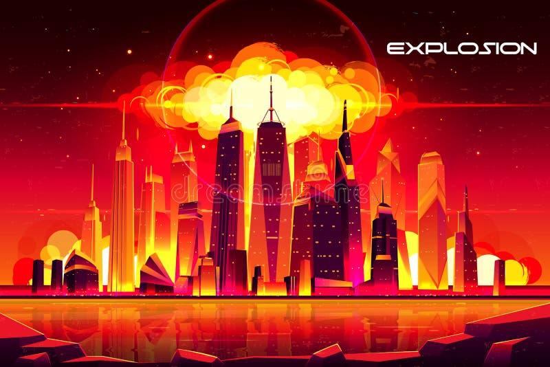 Nuclear explosion city metropolis mushroom cloud. Nuclear explosion in city metropolis. Fiery mushroom cloud of atomic bomb detonation raising under skyscrapers stock illustration