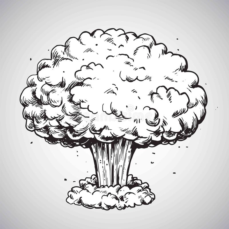 Nuclear Explosion Mushroom Cloud Drawing Illustration Vector royalty free illustration