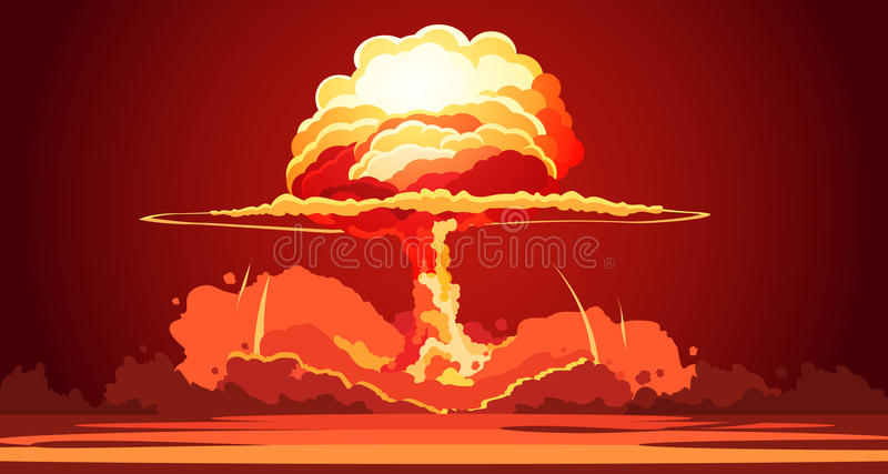 Nuclear Explosion Mushroom Cloud Retro Poster royalty free illustration