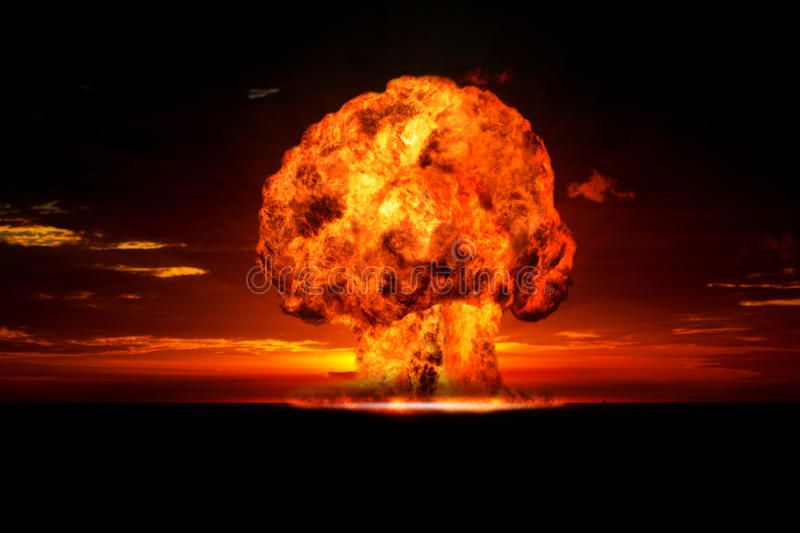 Nuclear explosion in an outdoor setting. Symbol of environmental protection and the dangers of nuclear energy royalty free stock photo