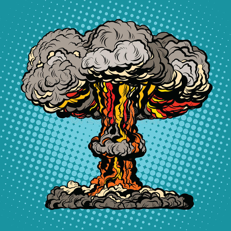 Free Nuclear Explosion Radioactive Mushroom Pop Art Royalty Free Stock Photos - 72191058