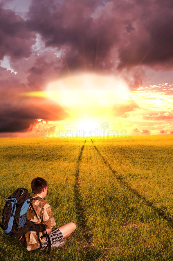 Nuclear explosion and the young man stock photos