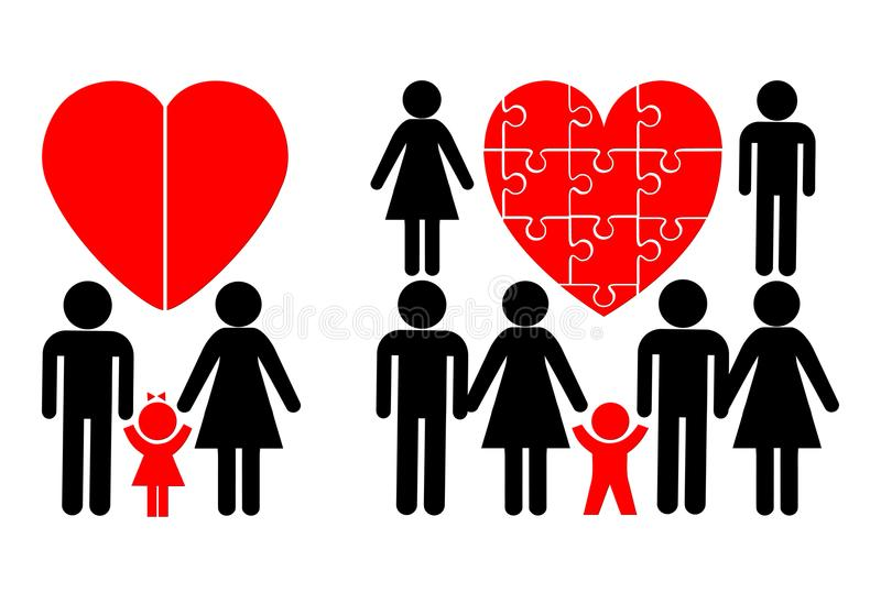 Nuclear Family and Blended Families. Child in a traditional family and a modern stepfamily stock illustration