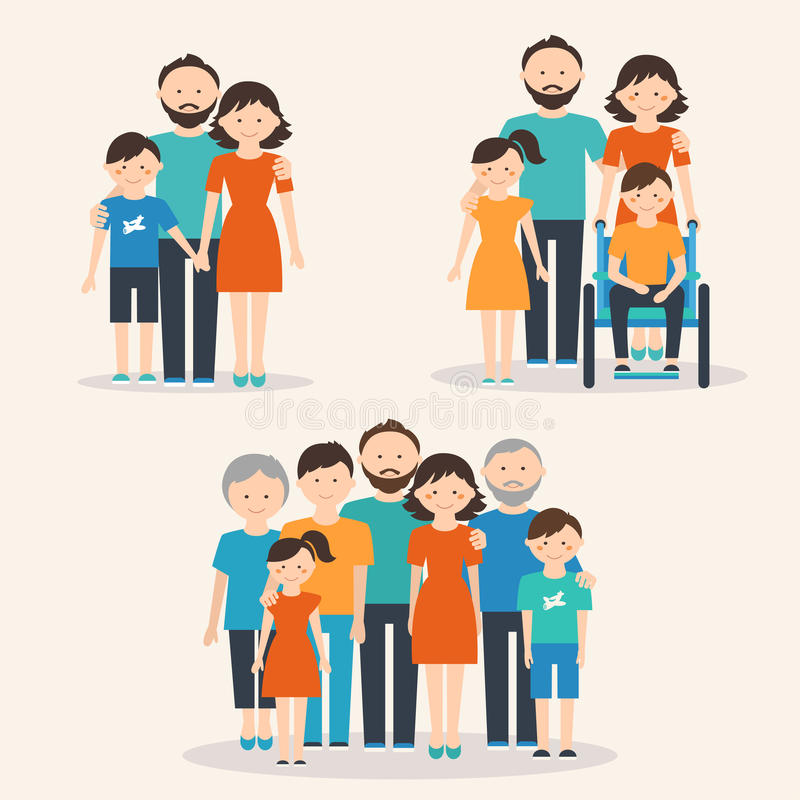 Nuclear Family, Family with Special Needs Child and Extended Family. Families of Different Types royalty free illustration