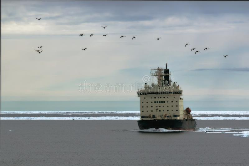 Nuclear icebreaker in the ice. Russia,Arctic ocean,July 14 2016 icebreaker with a nuclear power plant of Yamal in the ice at the time of posting of the convoy royalty free stock image
