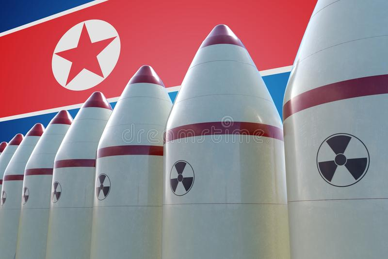 Nuclear missiles and North Korea flag in background. 3D rendered illustration vector illustration