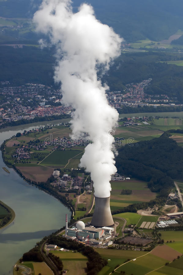 Nuclear Plant. Aerial View Swiss Nuclear Plant royalty free stock photo