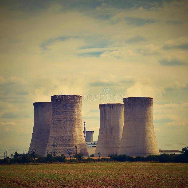 Download Nuclear Plant . Landscape With Power Station Chimneys. Dukovany Czech Republic. Stock Photo - Image of generator, atomic: 103669334