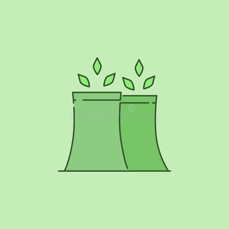 Nuclear plant with leaves icon. On green background royalty free stock photography