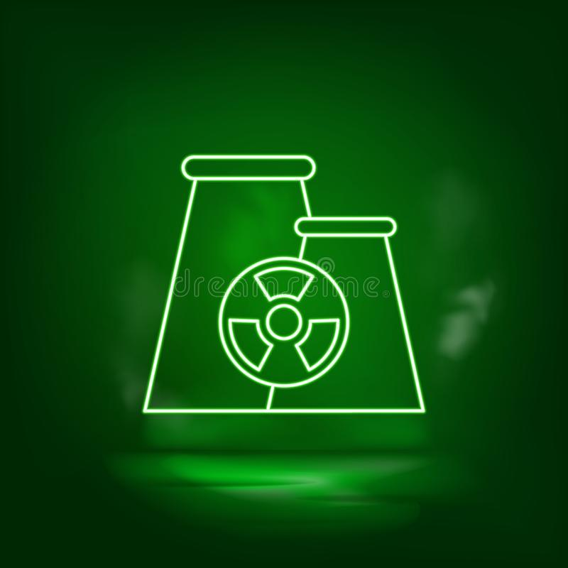 Nuclear, plant neon vector icon. Save the world, green neon. Green background royalty free illustration