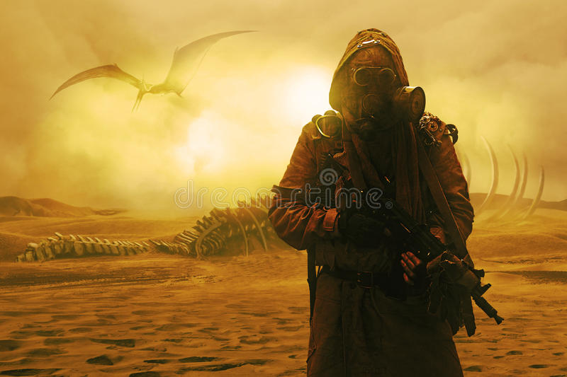 Nuclear post apocalypse. Desert and dead wasteland stock photo