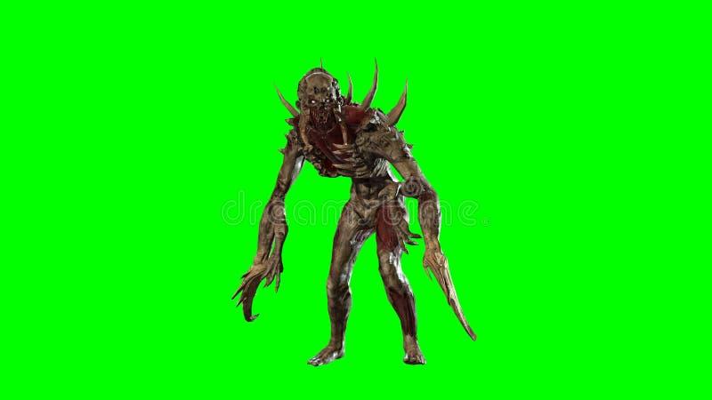 Nuclear post-apocalypse mutant 3d render. Nuclear post-apocalypse mutant soldier 3d render stock illustration