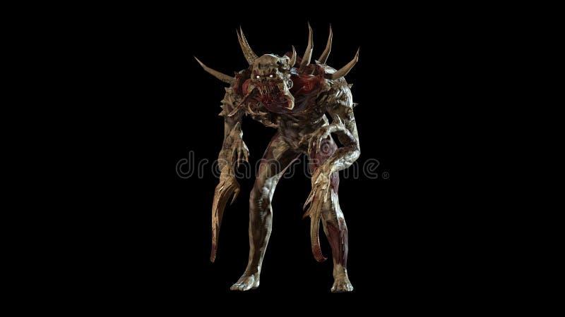 Nuclear post-apocalypse mutant 3d render. Nuclear post-apocalypse mutant soldier 3d render royalty free illustration