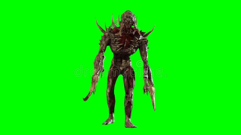 Nuclear post-apocalypse mutant 3d render. Nuclear post-apocalypse mutant soldier 3d render vector illustration