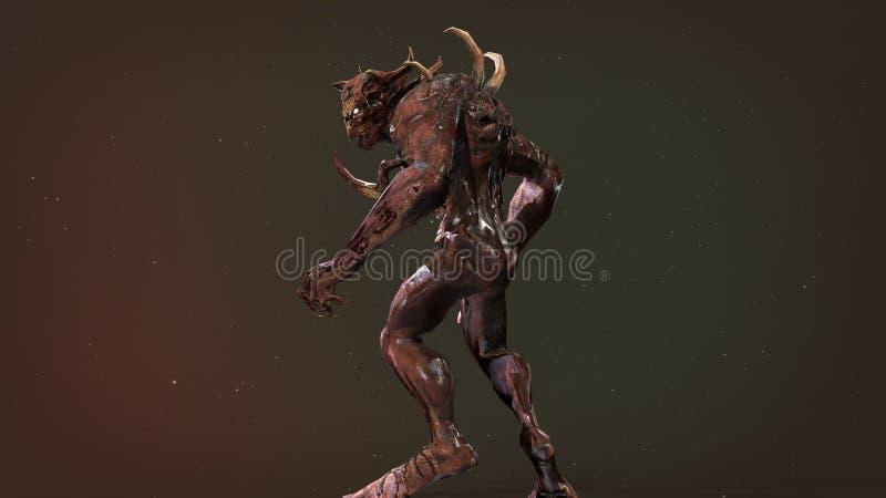 Predator mutant 3d render. Nuclear post-apocalypse predator mutant soldier 3d render stock illustration