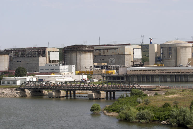 Nuclear power plant. The Cernavoda nuclear power plant royalty free stock images