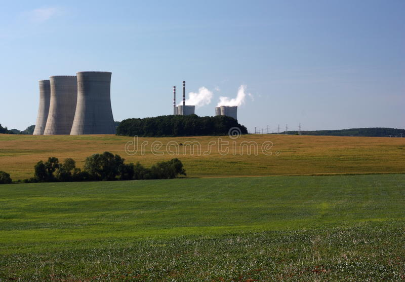 Nuclear power plant. With clen nature royalty free stock image