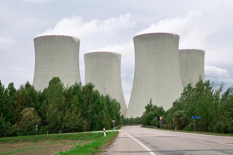 Nuclear Power Plant. Four cooling towers of the Temelin nuclear power plant in the Czech Republic royalty free stock images