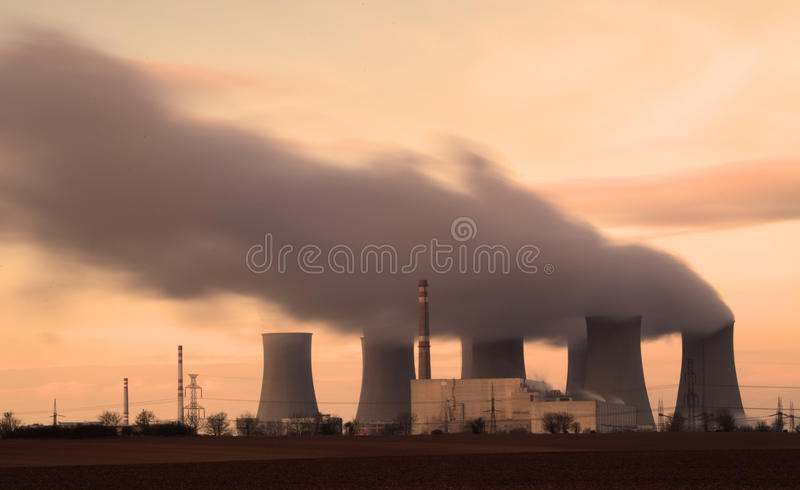 Nuclear power plant. Long exposure royalty free stock photos