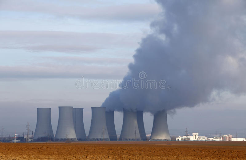 Nuclear power plant. And field stock photography