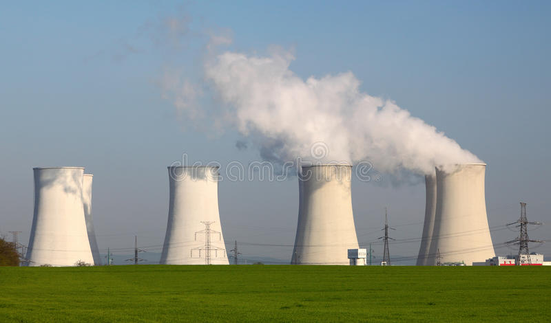 Nuclear power plant. By day stock image