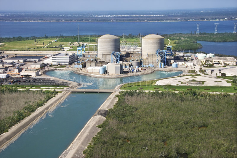 Nuclear power plant. Aerial view of nuclear power plant on Hutchinson Island, Flordia stock images