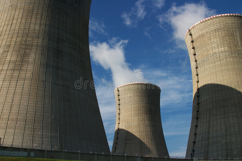 Nuclear power plant. Cooling towers of Nuclear power plant stock images