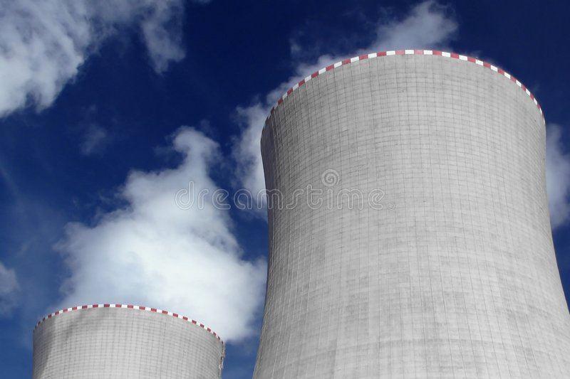 Nuclear power plant. Cooling towers of the nuclear power plant royalty free stock photos