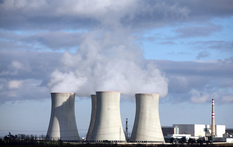 Nuclear power plant. In Czech republic royalty free stock image