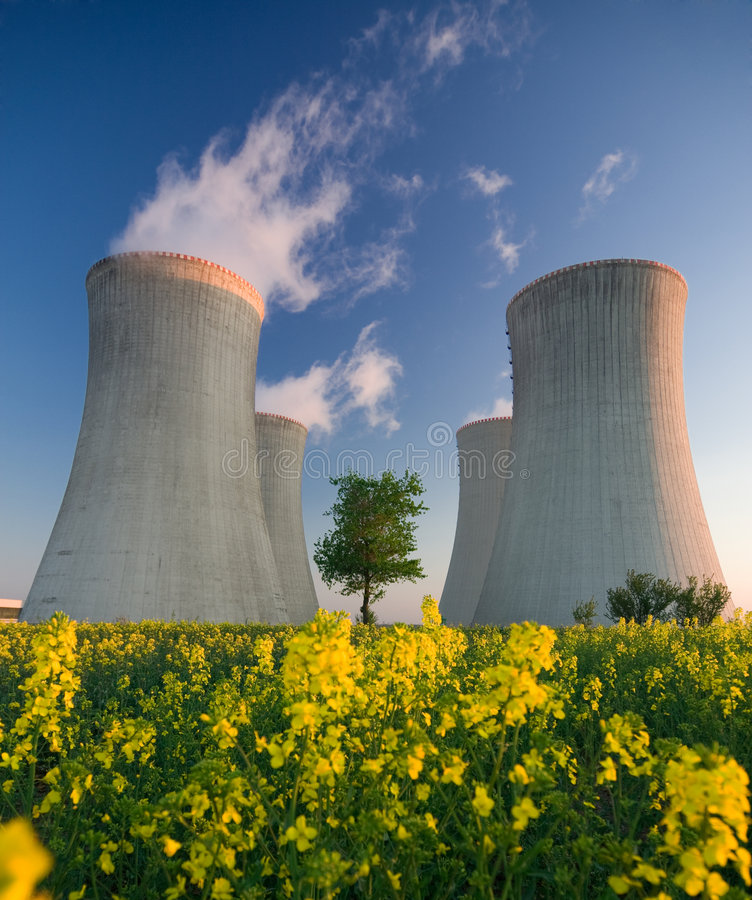 Nuclear power plant. Cooling towers of a nuclear power plant with steam escaping toward the sky. Flowering landscape in the foreground, and a single tree growing stock images