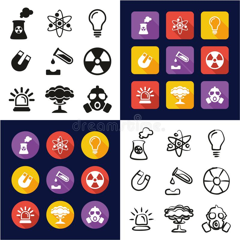 Nuclear Power Plant All in One Icons Black & White Color Flat Design Freehand Set. This image is a vector illustration and can be scaled to any size without loss stock illustration