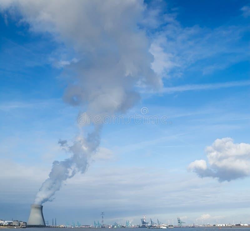 Nuclear power plant CO2 neutral harbor sky stock photo