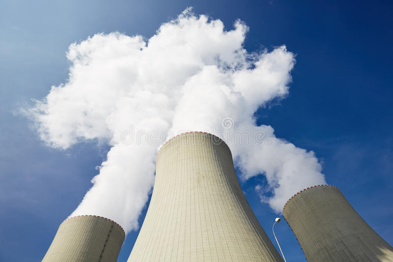 Nuclear power plant. Cooling towers of the nuclear power plant royalty free stock images