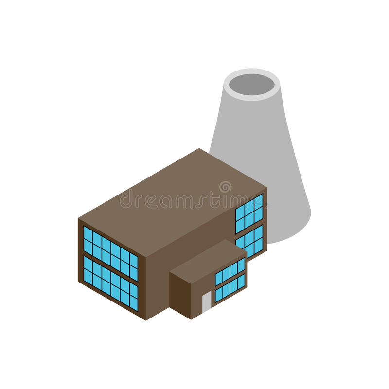 Nuclear power plant 3d isometric icon vector illustration