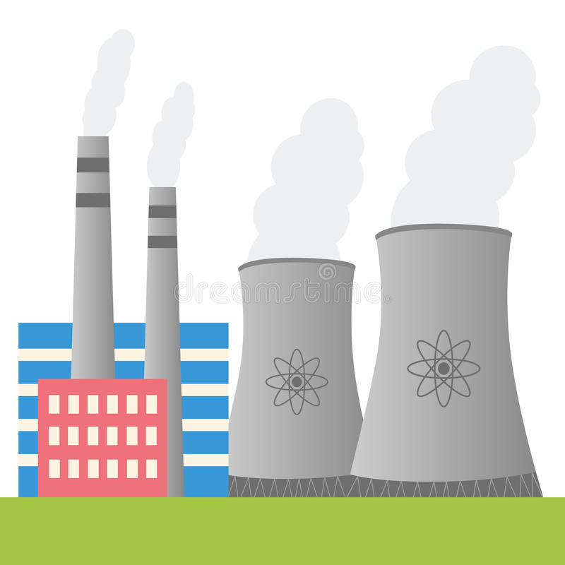 Nuclear power plant design vector illustration