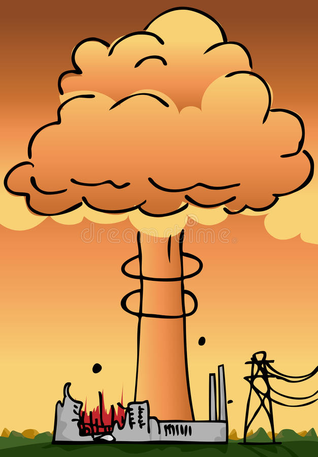 Nuclear Power Plant Disaster Royalty Free Stock Images