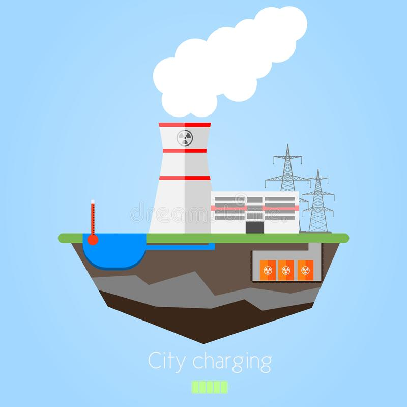 Nuclear power plant vector illustration
