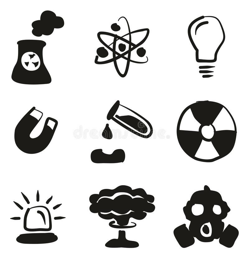 biohazard or radioactive icons thin line vector illustration set stock vector