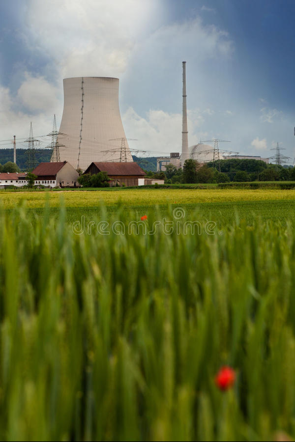 Nuclear Power Plant. Isar behind red poppy field (Bavaria / Germany royalty free stock images