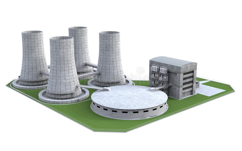 Nuclear Power Plant. Isolated on white background. 3d render royalty free stock images