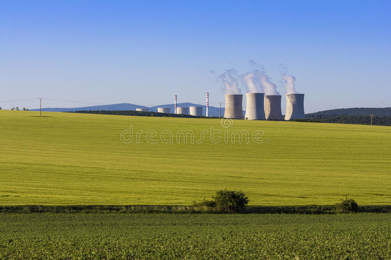 Nuclear power plant. Landscape field in Slovakia royalty free stock photos