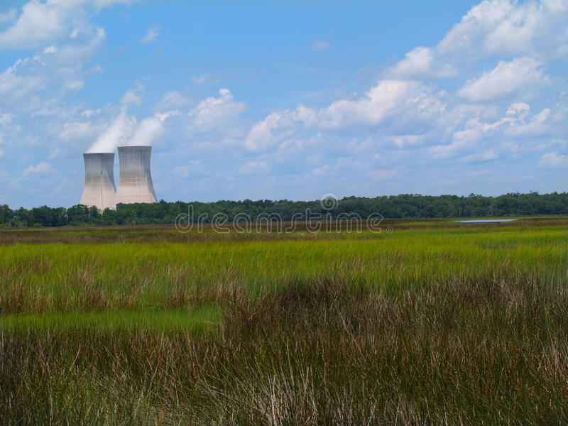 Nuclear Power Plant Next to a Florida Marsh stock photography