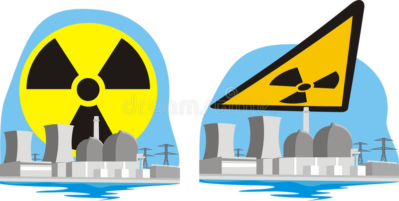 Nuclear power plant - nuclear hazard. Atomic power, anti-nuclear movement, nuclear and radiation accident royalty free illustration