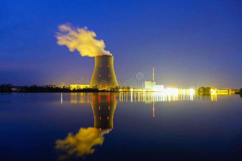 Nuclear power plant Ohu, Landshut. Nuclear power plant Ohu by night, Landshut, Bavaria, Germany, Europe royalty free stock photo