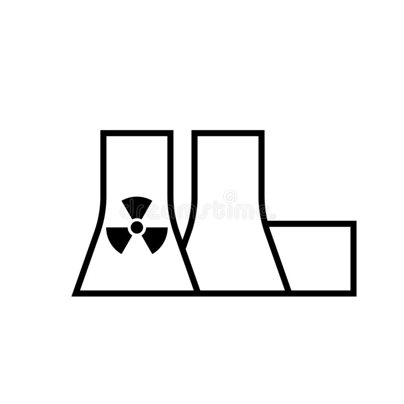 Nuclear power plant outline icon stock illustration