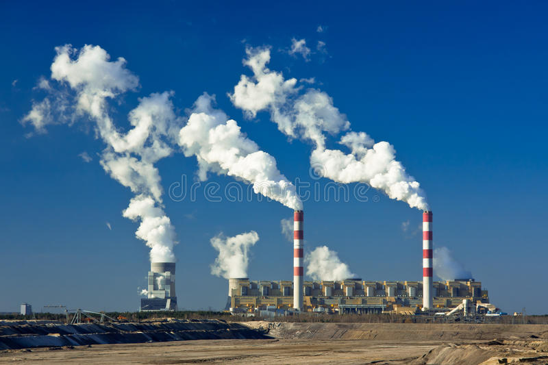 Nuclear power plant. Perfect industrial view - nuclear power plant making massive environment pollution stock photo