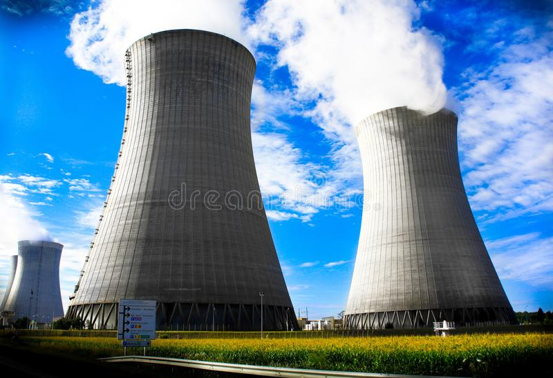 Nuclear power plant for the production of electricity royalty free stock photography