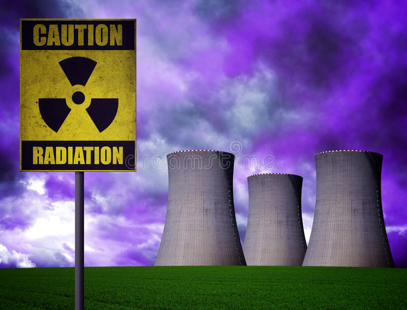 Nuclear power plant with radioactivity warning symbol royalty free stock photos