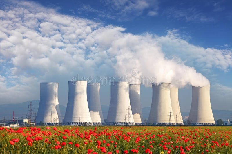 Nuclear power plant. With a red field stock photo