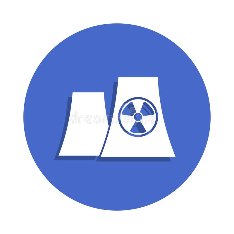 Nuclear power plant silhouette icon in badge style. One of Electro collection icon can be used for UI, UX. On white background stock illustration